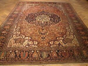 9x13 Old Persian Farahan Rug Original Hand Knotted Oriental Carpet From Iran