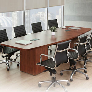 Modern Conference Room Table Boatshape W Cube Base Power Modules 8ft 24ft Foot