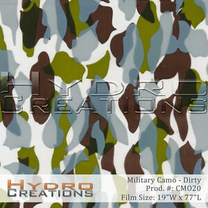 Hydrographic Film Dirty Military Camo 11 Square Meter Roll