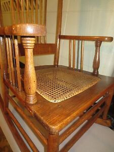 Victorian Oak Rocking Chair Pressed Back Spindle Back Sides