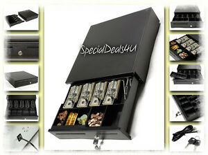 Cash Drawer Pos Box Tray Locking Safe Money Lock Insert Cable Epson Compatible W