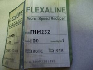 Unused Grove Gear Flexaline Fhm232 1 Right Angle Worm Gear Speed Reducer 100 1