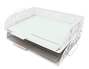 Carved Hollow Flower Pattern 2 Tier Desk Letter Tray Paper Organizer 11 75x9 5
