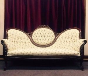 Victorian Ivory Flower Sofa Walnut Wood Handcarved Flowers Cameo Back Antique