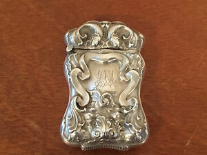 Antique Sterling Silver Match Safe W Repousse Fish Or Serpent Scrolling Dec