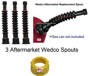 3 New Improved Aftermrkt Wedco Versaflex Gas Spouts Briggs Fuel Diesel Nozzles