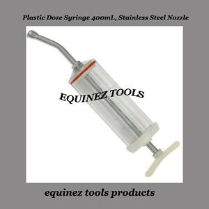 Plastic Dose Syringe 400ml Stainless Steel Nozzle Dental equine