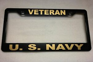 Military License Plate Frame Polished Abs veteran u s Navy 842327g
