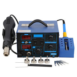 New 862d 2in1 Smd Rework Station Soldering Hot Air Esd Tips Bga Nozzles Led