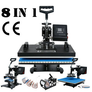 8 In 1 Heat Press Machine Transfer Sublimation T shirt Mug Cup Plate Cap Hat