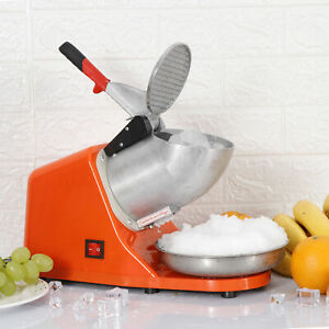 Ice Shaver Machine Electric Snow Cone Maker 143lbs High Efficiency Orange 300w