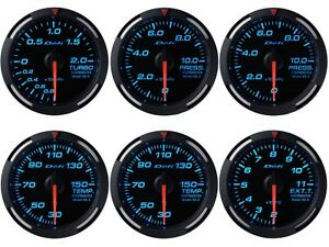 Defi Blue Racer 52mm 6 Gauges Set boost oil fuel Press oil water Temp egt