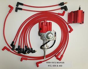 440 Mopar 1959 72 Red Small Female Cap Hei Distributor Coil Spark Plug Wires
