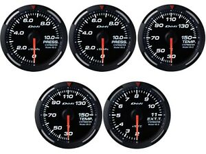 Defi White Racer 52mm 5 Gauges Set oil fuel Press oil water Temp egt