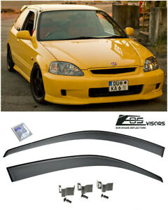 Eos Visors For 96 00 Civic Hatchback Jdm Clip on Side Vent Window Rain Deflector