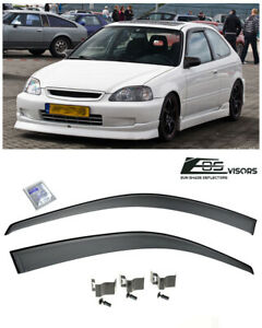 Eos Visors For 96 00 Honda Civic Coupe Jdm Clip On Side Window Guard Deflectors