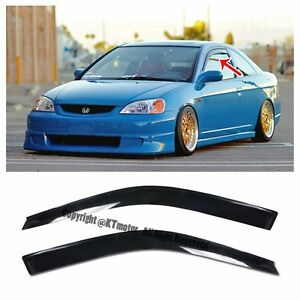For 01 05 Honda Civic 2dr Coupe Smoke Tinted Jdm Side Window Visors Rain Guard