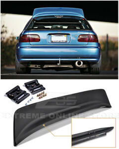 For 92 95 Honda Civic Hatchback Bys Style Primer Black Rear Roof Wing Spoiler