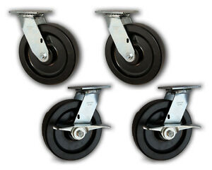 8 X 2 Heavy Duty Swivel Casters W Phenolic Wheels 5000 4 Pk 2 With Brakes