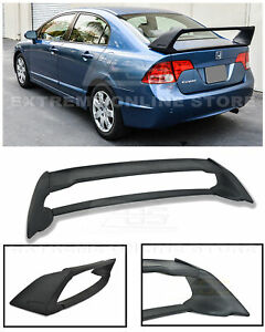 For 06 11 Honda Civic Sedan Mugen Rr Abs Plastic Rear Trunk Lid Wing Spoiler