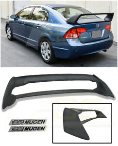 For 06 11 Civic 4dr Mugen Rr Rear Trunk Spoiler Abs Plastic W 2 X Black Emblems