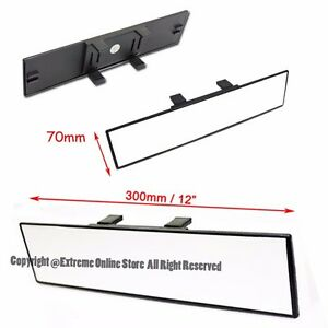 Universal 11 8 300mm Wide Flat Clear Tint Jdm Clip On Style Rear View Mirror
