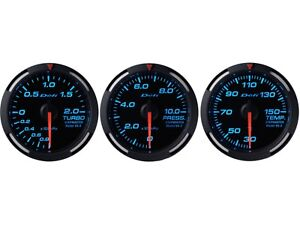 Defi Blue Racer 52mm 3 Gauges Set turbo Boost oil Pressure water Temperature