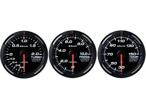 Defi White Racer 60mm 3 Gauges Set turbo Boost oil Pressure water Temperature