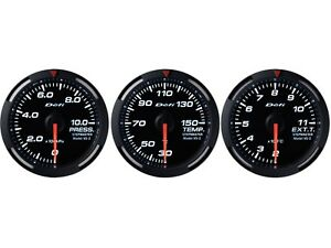 Defi White Racer 52mm 3 Gauges Set oil Pressure water Temperature egt