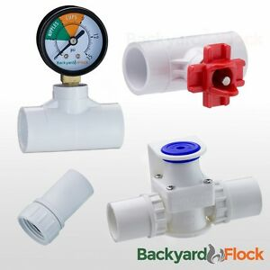 2 Horizontal Nipple Drinker Poultry Chicken Watering Kit regulator Gauge