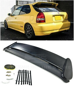 For 96 00 Honda Civic Hatchback Jdm Type r Primer Black Rear Roof Wing Spoiler