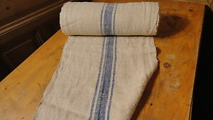 A Homespun Linen Hemp Flax Yardage 17 Yards X 17 Blue Stripes 7519