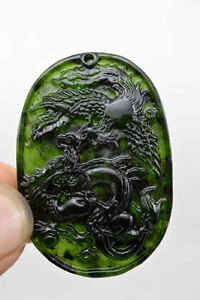 100 China S Natural Jade Nephrite Carving Black Jade Pendant Dragon Phoenix
