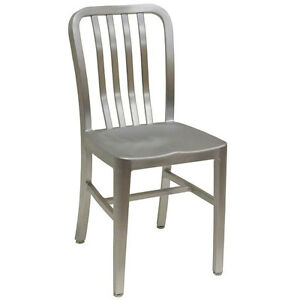 American Tables Seating 57 Armless Slat Back Aluminum Chair
