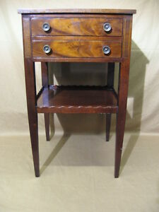 Beacon Hill Collection Mid 20th Century Mahogany Leather Nightstand End Table