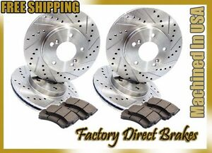 Front Rear All 4 Drilled Slotted Brake Rotors Ceramic Brake Pads Evo 10 X