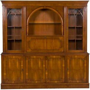 Vintage Antique Style Yew Wood Breakfront Bookcase China Cabinet W Liqour Bar