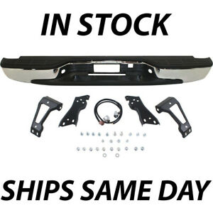 New Complete Chrome Steel Rear Step Bumper For 1999 2006 Chevy Silverado Truck