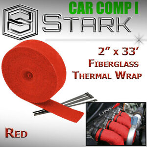 2 X 33 In Ft Fiberglass Manifold Header Exhaust Heat Tape Wrap Ties Red H