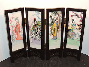 Wood And Alabaster Japanese Hinged Handpainted Screen Panel 2 Sided 10072