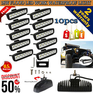 10pcs 6 18w Cree Led Work Light Bar Flood Beam Offroad Driving Fog Lamp Atv Ute