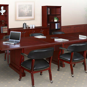 8 24 Ft Traditional Boardroom Table And Chairs Set Conference Room