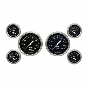 Classic Instruments Hot Rod Series Black 6 Gauge Set speedo Tach Fuel Oil