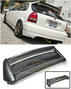 For 96 00 Honda Civic Hatchback Seeker V2 Carbon Fiber Rear Roof Wing Spoiler