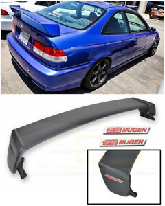 For 96 00 Honda Civic Coupe Mugen Style Rear Trunk Wing Spoiler Red Emblem Pair