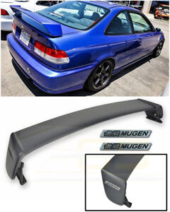 For 96 00 Honda Civic Coupe Mugen Style Rear Trunk Wing Spoiler Bk Emblem Pair