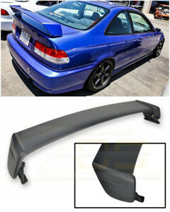For 96 00 Honda Civic Coupe Mugen Style Primer Black Rear Trunk Lid Wing Spoiler