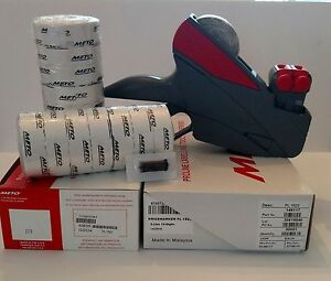 Meto Price Label Gun 15 22 2 Line value Pack Box White Labels Ink Roller