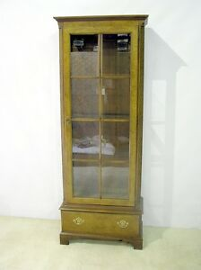 Vintage Baker Furniture Chinese Chippendale Display Cabinet Over One Drawer