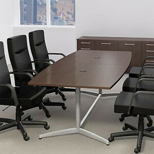 6ft 10ft Boat Shaped Modern Conference Table With Metal Base Meeting Boardroom